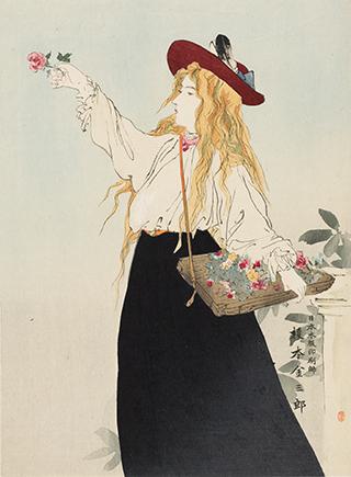 Anonym, Japan 19. Jh., Blonde Europäerin mit Hut und Blumen