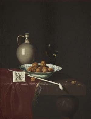 Hubert van Ravesteyn, Stillleben mit Nüssen, Wein und Tabakpäckchen, 1670