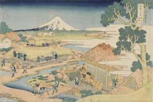 Katsushika Hokusai, Der Berg Fuji in einer Teeplantage in Katakura, 1830–31
