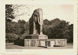 """Postkarte des ehemaligen """"Kolonial-Ehrenmals"""" in Bremen, vor 1945, Sammlung Joachim Zeller"""