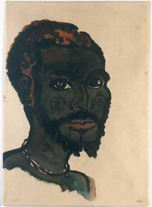 Emil Nolde, Kopf eines Eingeborenen von vorne, 1913/14 (in der Ausstellung angegeben als Kopf eines E*********** von vorne),  © Nolde Stiftung Seebüll