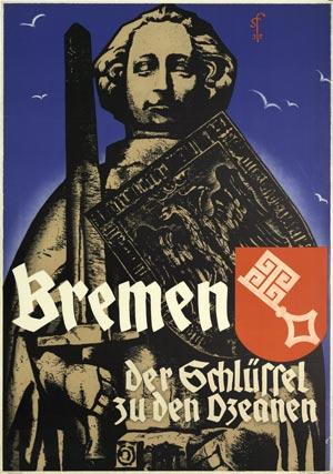 Plakat Bremen, der Schlüssel zu den Ozeanen, um 1935, Deutsches Schifffahrtsmuseum Bremerhaven