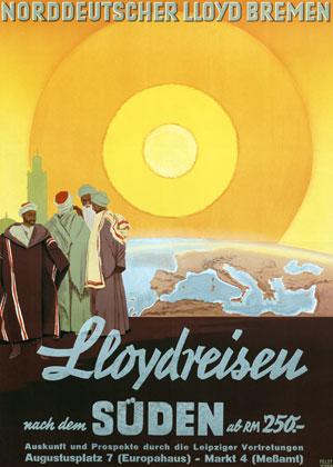 Hugo Feldtmann, Plakat Lloydreisen nach dem Süden, um 1935, Deutsches Schifffahrtsmuseum Bremerhaven
