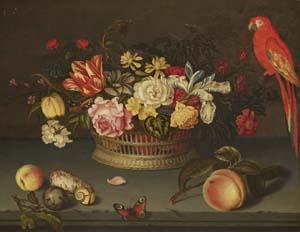 Hyronimus Sweerts, Stillleben mit Blumenkorb und Papagei, 1626