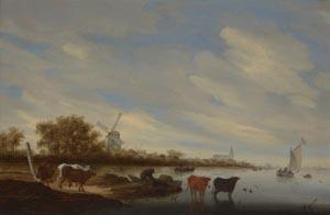 Salomon van Ruysdael, Flusslandschaft mit Kühen und Windmühle, 1667