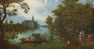 Adriaen Pietersz. van de Venne, Sommerlandschaft mit Bootfahrender Gesellschaft und Badenden, 1615/1616
