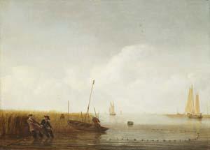 Hendrick Jacobsz. Dubbels, Stille See mit Fischern beim Einholen der Netze, um 1645-1653