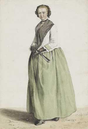 Anonym, Deutschland, 18. Jahrhundert, Bildnis einer Dame mit Fächer und grünem Rock, um 1760–1770, Kunsthalle Bremen – Der Kunstverein in Bremen, Kupferstichkabinett