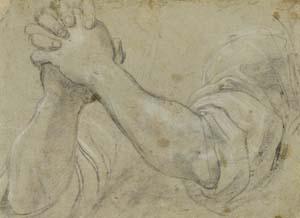 Annibale Carracci, Arme mit gefalteten Händen, um 1585-1590, Kunsthalle Bremen – Der Kunstverein in Bremen, Kupferstichkabinett