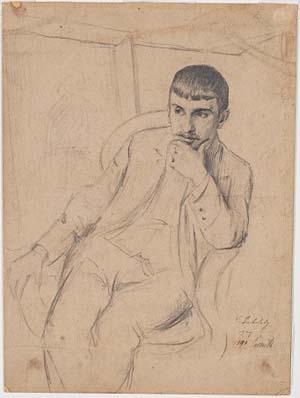 Lovis Corinth, Bildnis des Königsberger Malers Carl Bublitz, 1890, Kunsthalle Bremen – Der Kunstverein in Bremen, Kupferstichkabinett