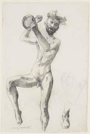 Lovis Corinth, Nackter Mann mit Schellentrommel und geöffnetem Mund, 1905, Kunsthalle Bremen – Der Kunstverein in Bremen, Kupferstichkabinett