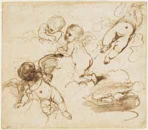 Giovanni Francesco Barbieri, genannt Il Guercino, Vier Putten in Wolken, undatiert, Kunsthalle Bremen – Der Kunstverein in Bremen, Kupferstichkabinett
