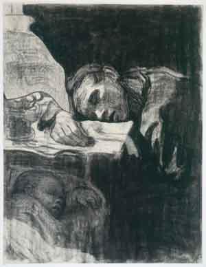 Käthe Kollwitz: Heimarbeit (oder Schlafende Mutter), 1909, Blatt 1 der Folge