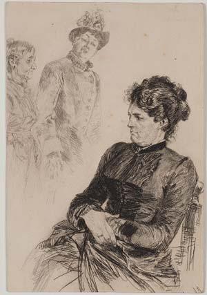 Adolph von Menzel, Die erzürnte Hausfrau (oder: Stille Teilnahme), 1887, Kunsthalle Bremen – Der Kunstverein in Bremen, Kupferstichkabinett
