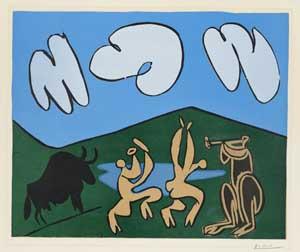 Pablo Picasso, Bacchanal mit schwarzem Stier, 1959, Kunsthalle Bremen – Der Kunstverein in Bremen, © Succession Picasso / VG Bild-Kunst, Bonn 2020