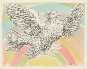 Pablo Picasso, Fliegende Taube (im Regenbogen), 1952, Kunsthalle Bremen – Der Kunstverein in Bremen, © Succession Picasso / VG Bild-Kunst, Bonn 2020