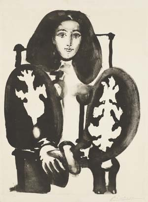 Pablo Picasso, Frau im Lehnstuhl Nr. 1 (nach dem Rot), 1948, Kunsthalle Bremen – Der Kunstverein in Bremen, © Succession Picasso / VG Bild-Kunst, Bonn 2020