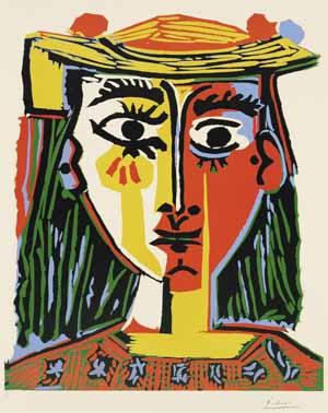 Pablo Picasso, Porträt einer Frau mit Pomponhut und bedruckter Bluse, 1962, Kunsthalle Bremen – Der Kunstverein in Bremen, © Succession Picasso / VG Bild-Kunst, Bonn 2020