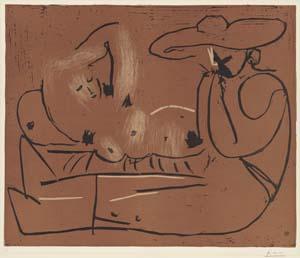 Pablo Picasso, Liegende Frau und Mann mit großem Hut, 1959, Kunsthalle Bremen – Der Kunstverein in Bremen, © Succession Picasso / VG Bild-Kunst, Bonn 2020