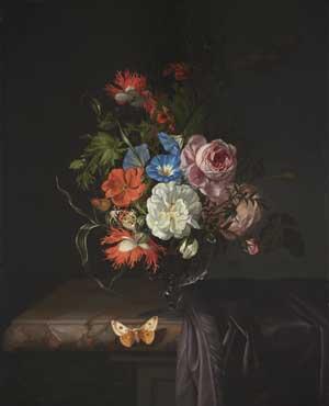 Rachel Ruysch, Blumen in einer Glasvase, 1686