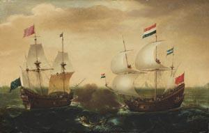 Cornelis Verbeeck, Ein Gefecht zwischen einem niederländischen und einem türkischen Schiff, um 1618–1620